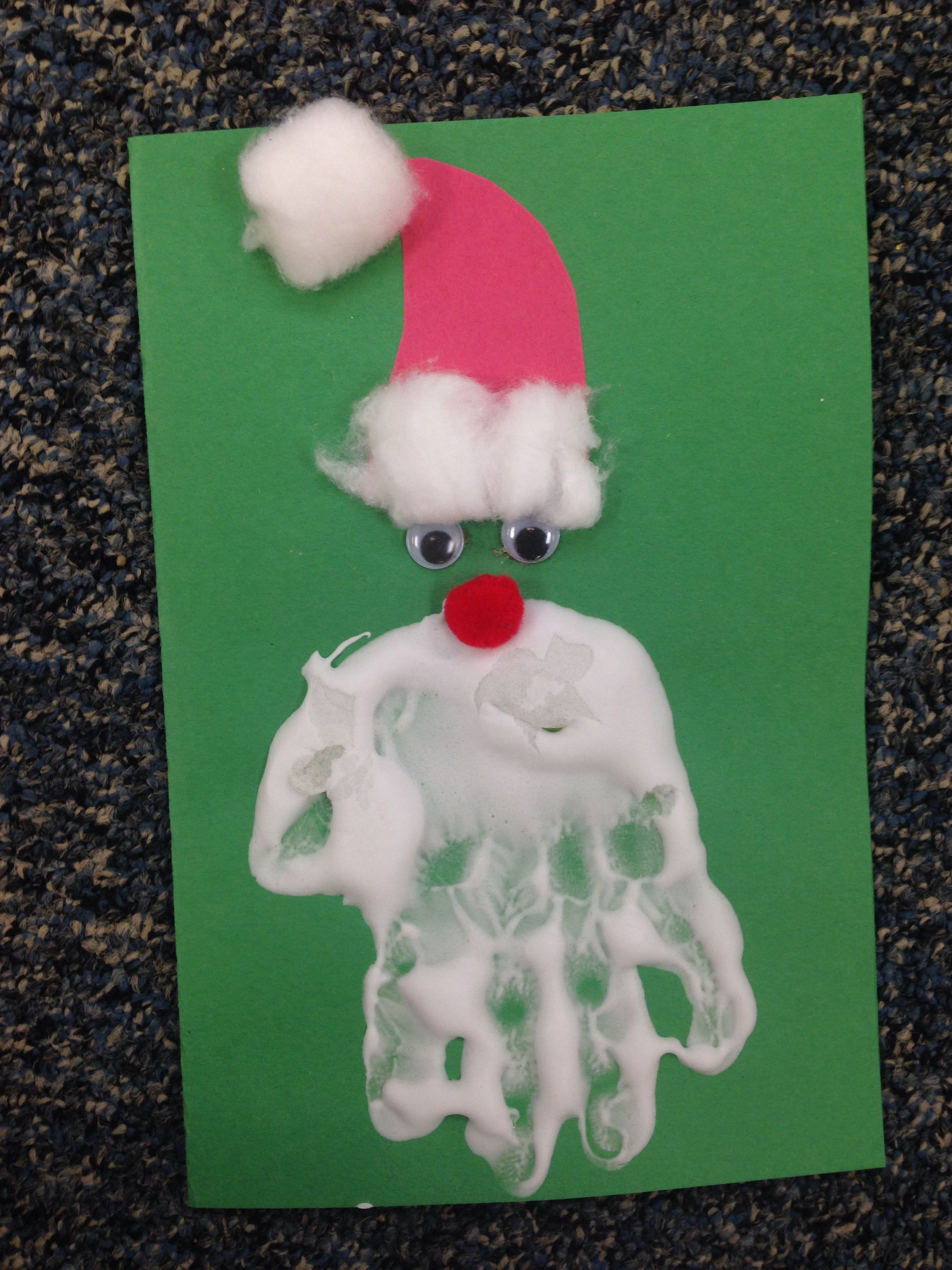 Pre K Christmas Craft.Hand Print Santa Card Pre K Children Used Puffy Paint To