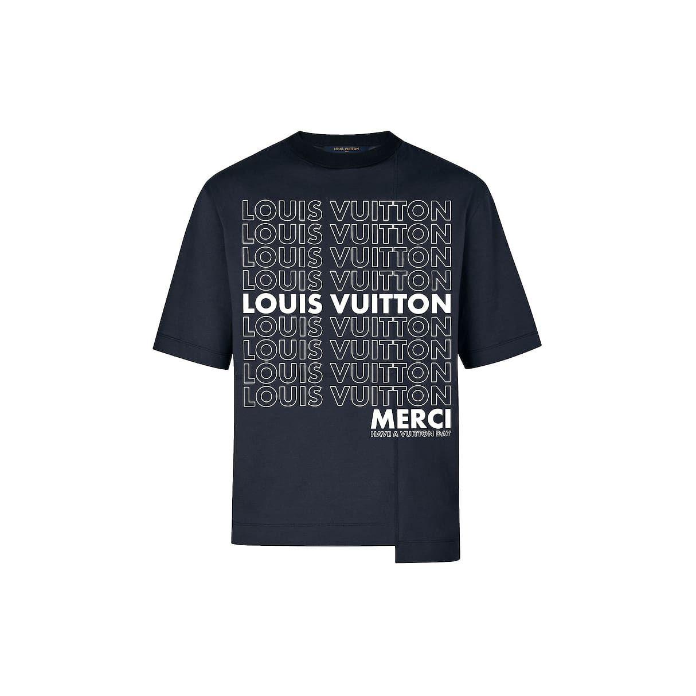335c58282fd0 Tee-Shirt Oversized Avec Patchwork Lv List Homme Prêt-à-porter T ...