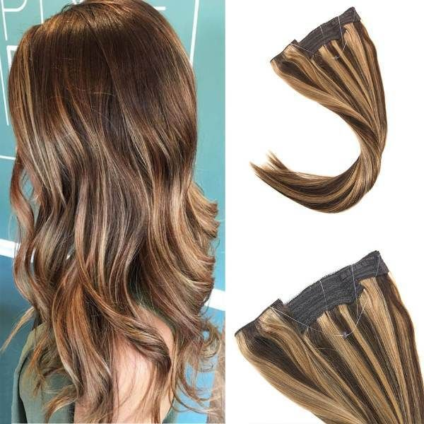 Flip In Human Hair Extensions No Clip No Glue Silky Straight Dark