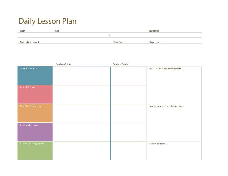 Image result for swim lesson plan template swimming Pinterest - Daily Lesson Plan Template