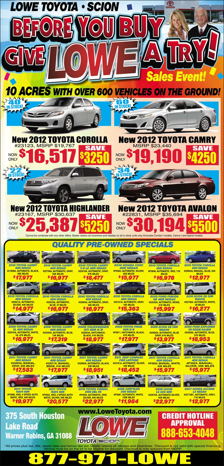 Lowe Toyota Sale on dozens of new and used vehicles on sale. Save ...