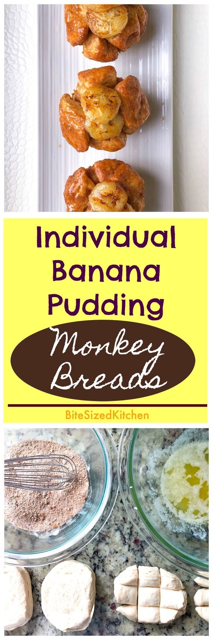 EASY Monkey Bread Muffins with Banana Pudding | Bite Sized Kitchen