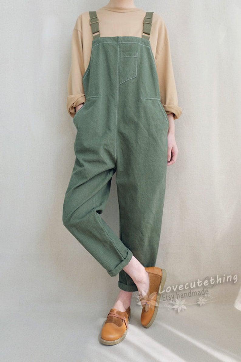 Women Leisure Adjustable Cotton Dungarees Linen Ov