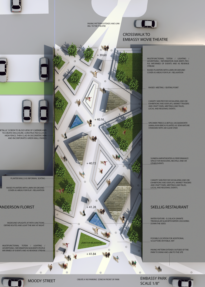 embassy park design competition - tech drawing / plan | landscape