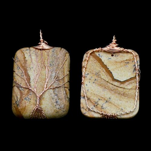 Rose Gold Wire Wrap Natural Gemstones Tree Of Life Chakra Pendant
