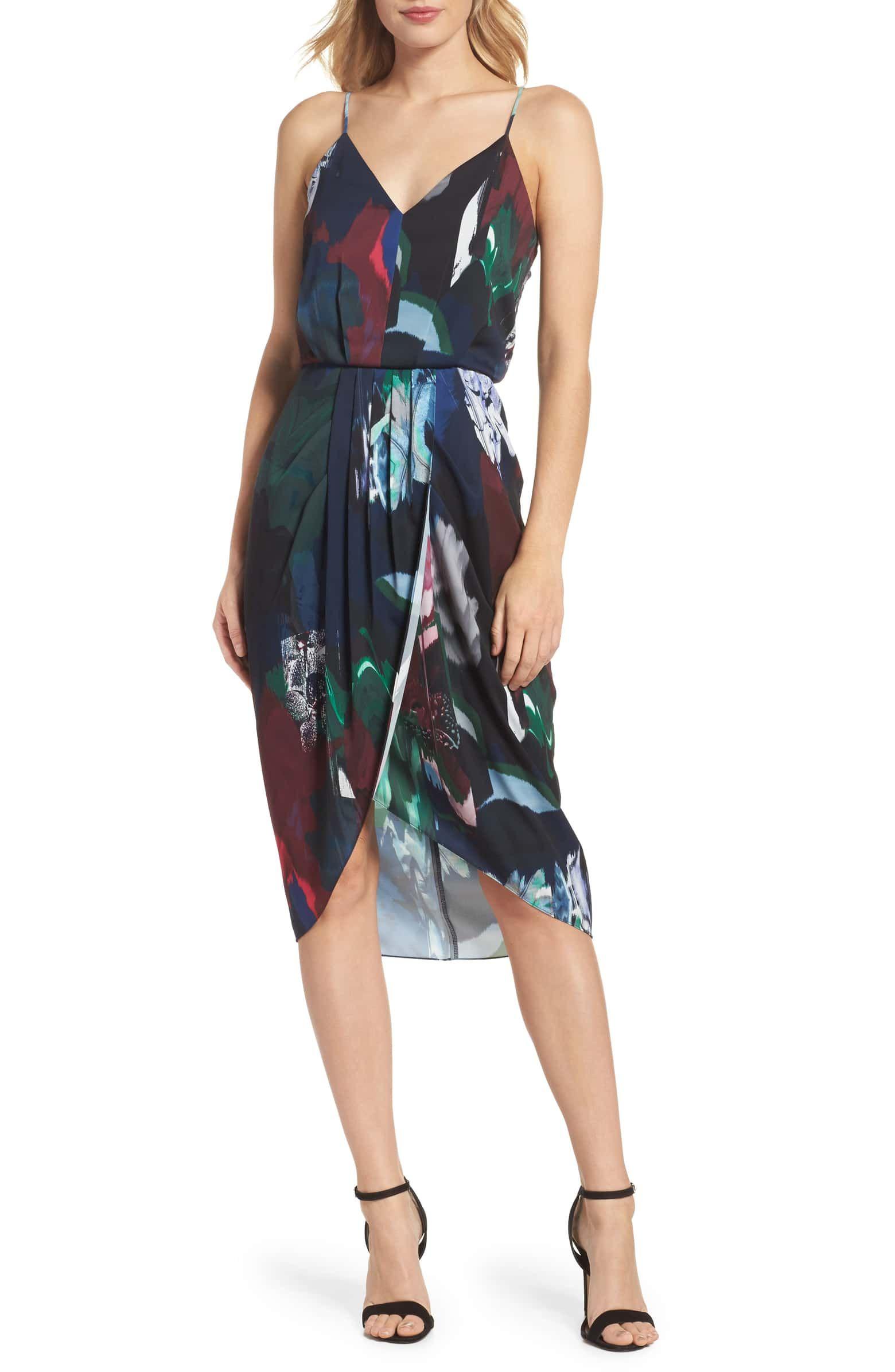 9294d1305 CHELSEA28 Print Faux Wrap Dress