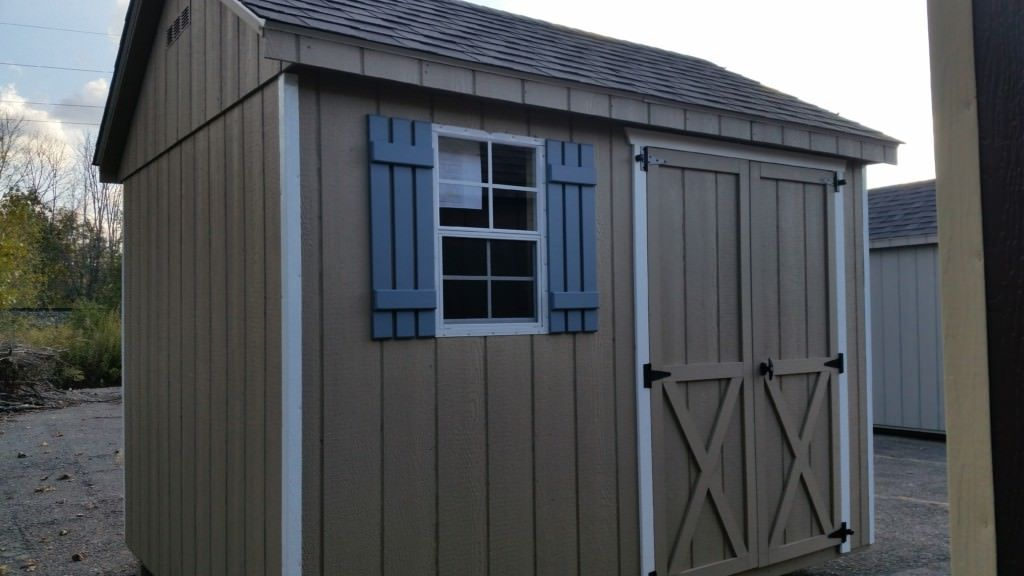A Frame 8x10 Shed 8x10 Shed Made With T 111 Colors Buckskin White Trim Weather Wood Shingles And Blue Slat Shutter Shed Storage Sheds For Sale Shed Storage