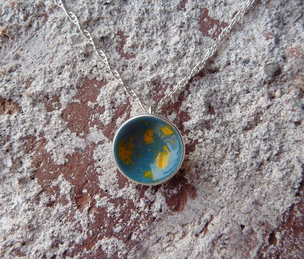 Teal and marigold dot necklace