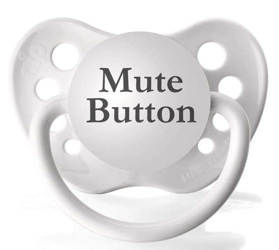 Personalized Pacifier White Mute Button