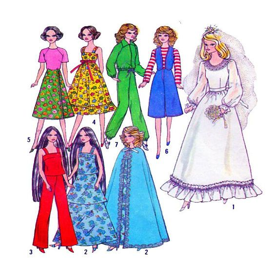 Simplicity 8281, Doll Collector, Barbie Doll Clothing, 70s Vintage ...