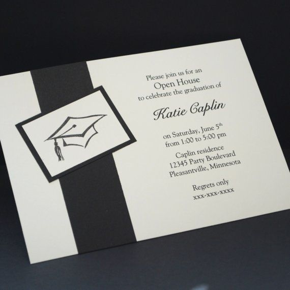 black grad hat hand stamped open house invitations stampin up