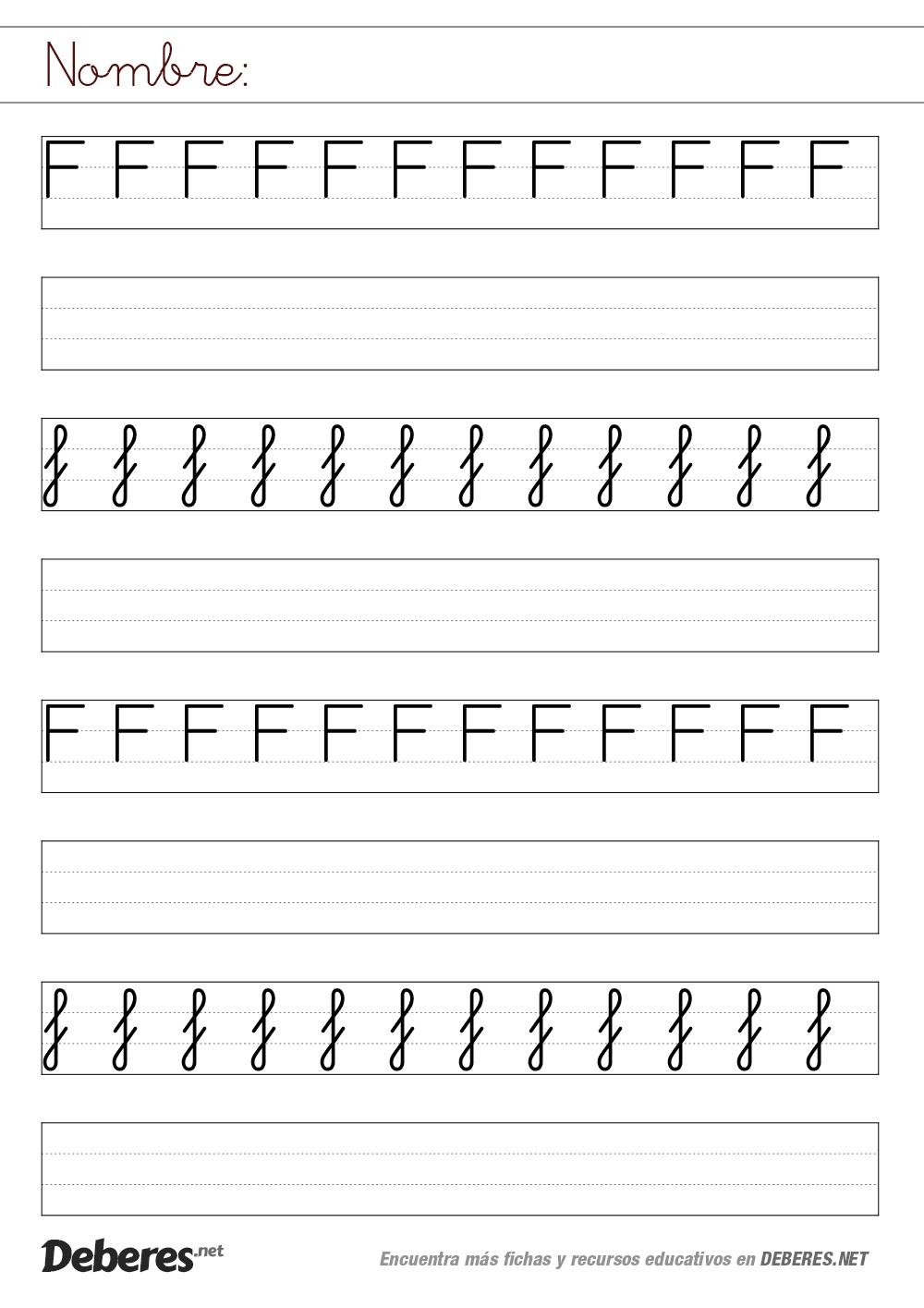 Ficha de la letra F con pauta MONTESSORI   lectoescritura ...