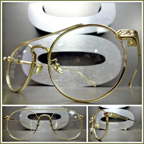bd54e09fdd5a4 Mens CLASSIC VINTAGE RETRO Style Clear Lens EYE GLASSES Round Gold Fashion  Frame
