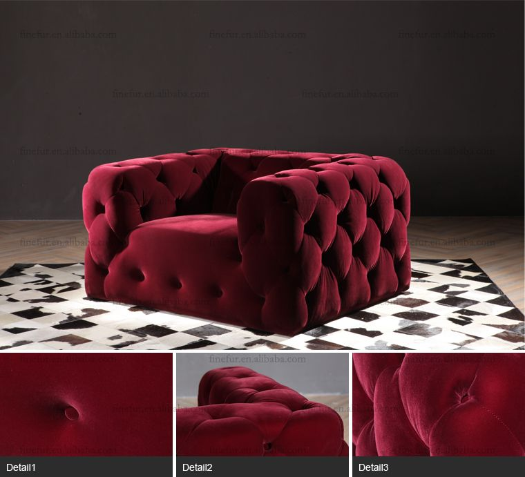 Furniture Red Velvet Low Cost