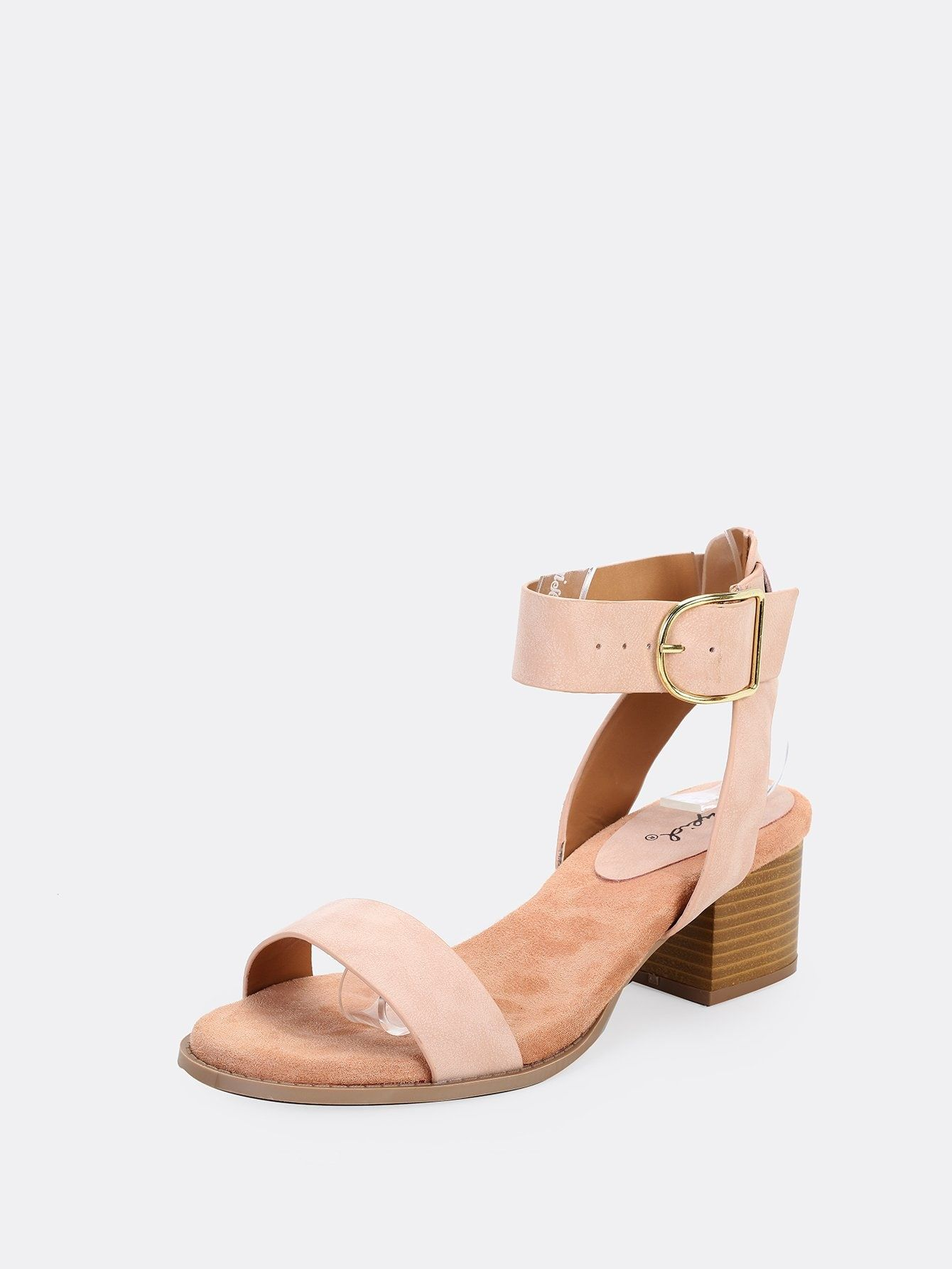 0c23bdf88ec Casual Plain Ankle strap Pink Mid Heel Chunky Side Buckle Ankle Strap Open  Toe Low Heel Sandals