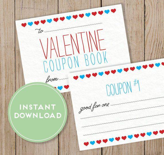 Printable Valentine's Day Coupon Book. Editable PDF. DIY Valentine ...