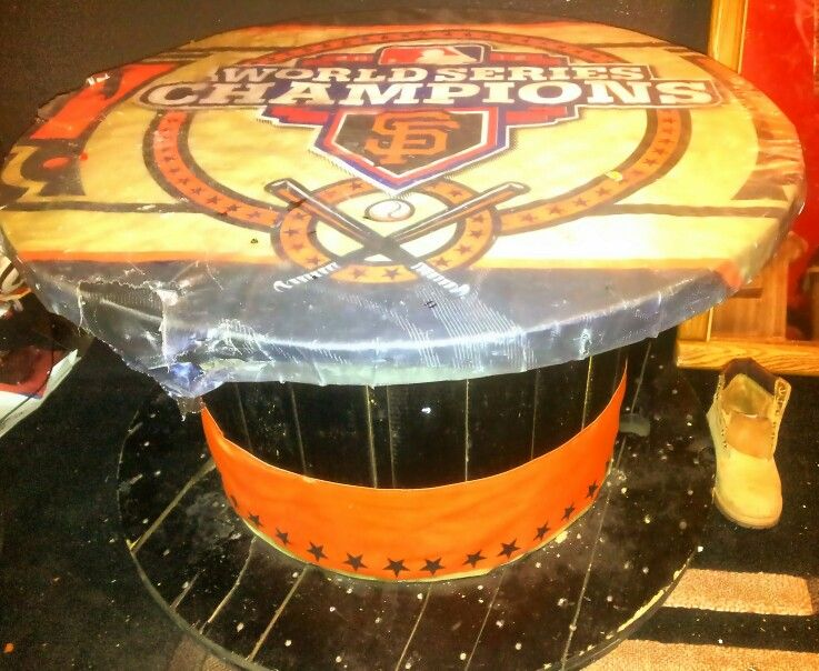 Giants Round Table Zmade From Big Empty Wooden Spool And
