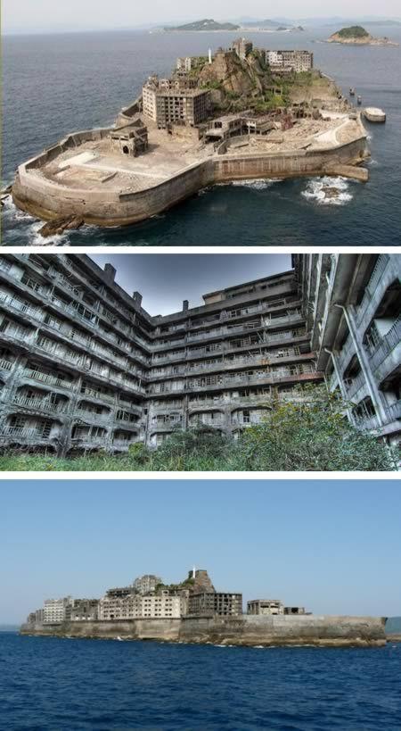 Hashima Island (Japan)  Una isla completamente abandonada en el mar de China.  Vivían 5.000 personas. Era el lugar más densamente poblado del planeta en 1974.