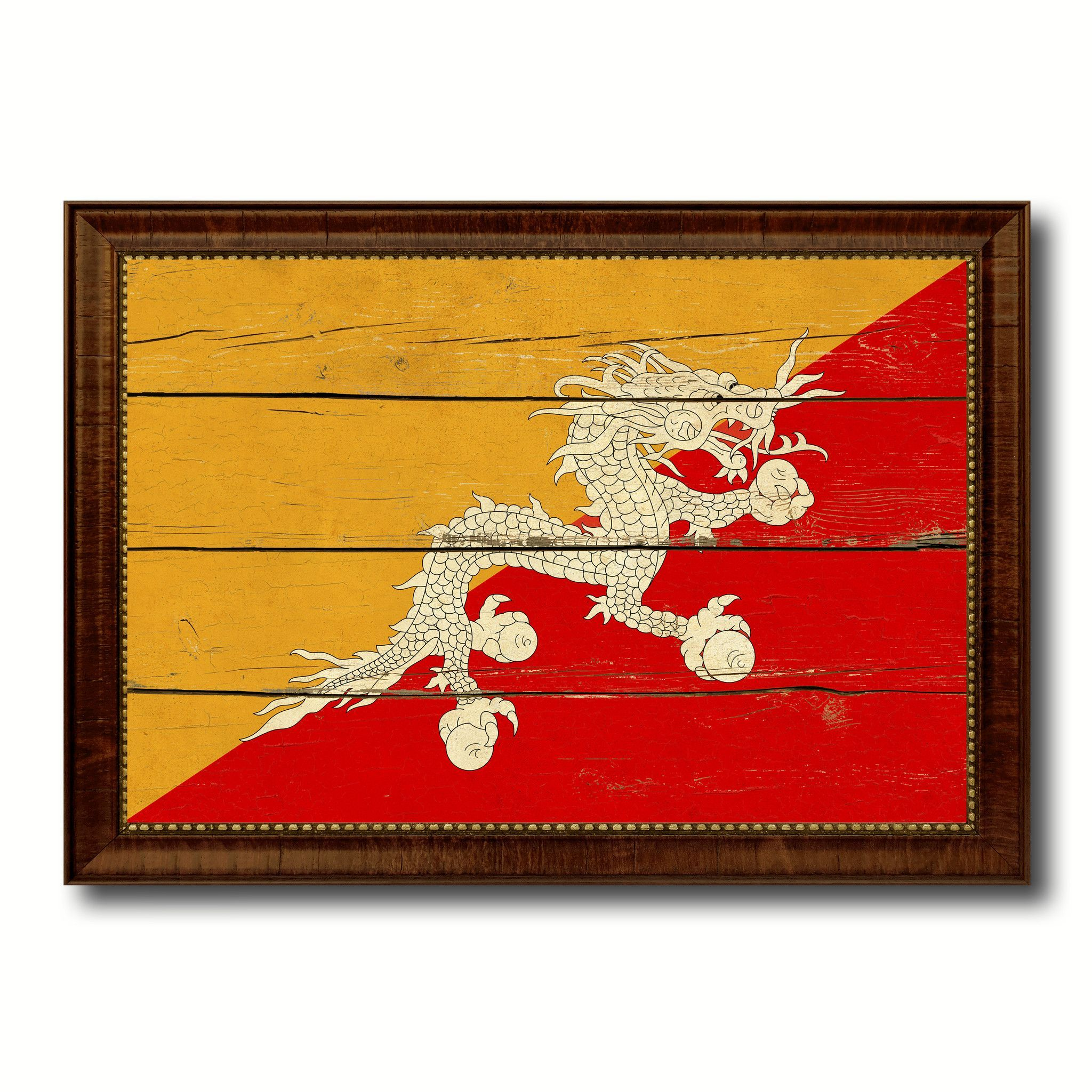 Bhutan Country Flag Vintage Canvas Print with Brown Picture Frame ...