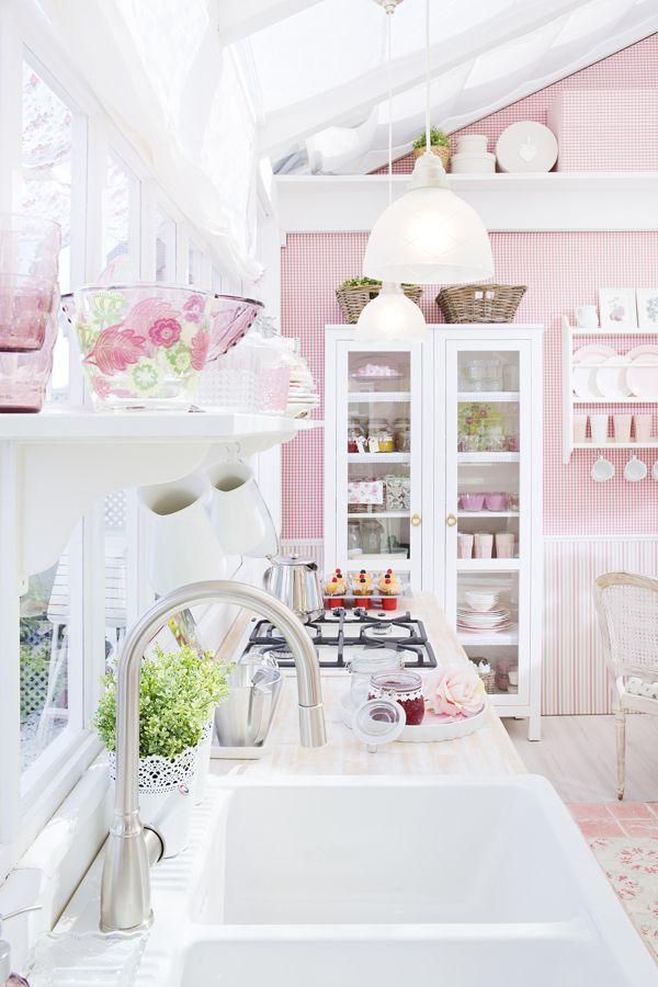 Cocina Con Paredes En Rosa Pastel Cocina Shabby Chic Decoracion