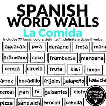 Spanish Food Word Wall Spanish Food Activities La Comida