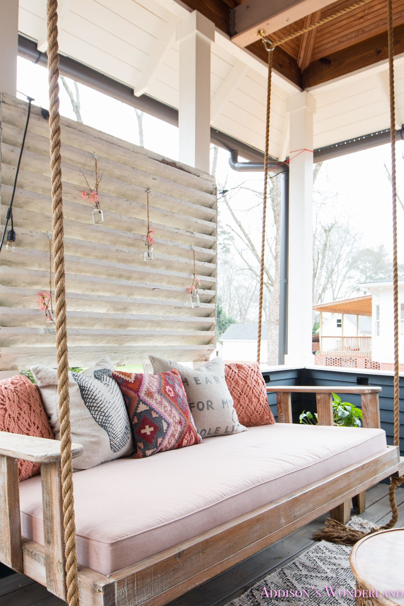 A Spring Refresh Styling Of Our Back Porch Hanging Daybed Porch Swing Cushions Porch Swing Bed Diy Outdoor Cushions