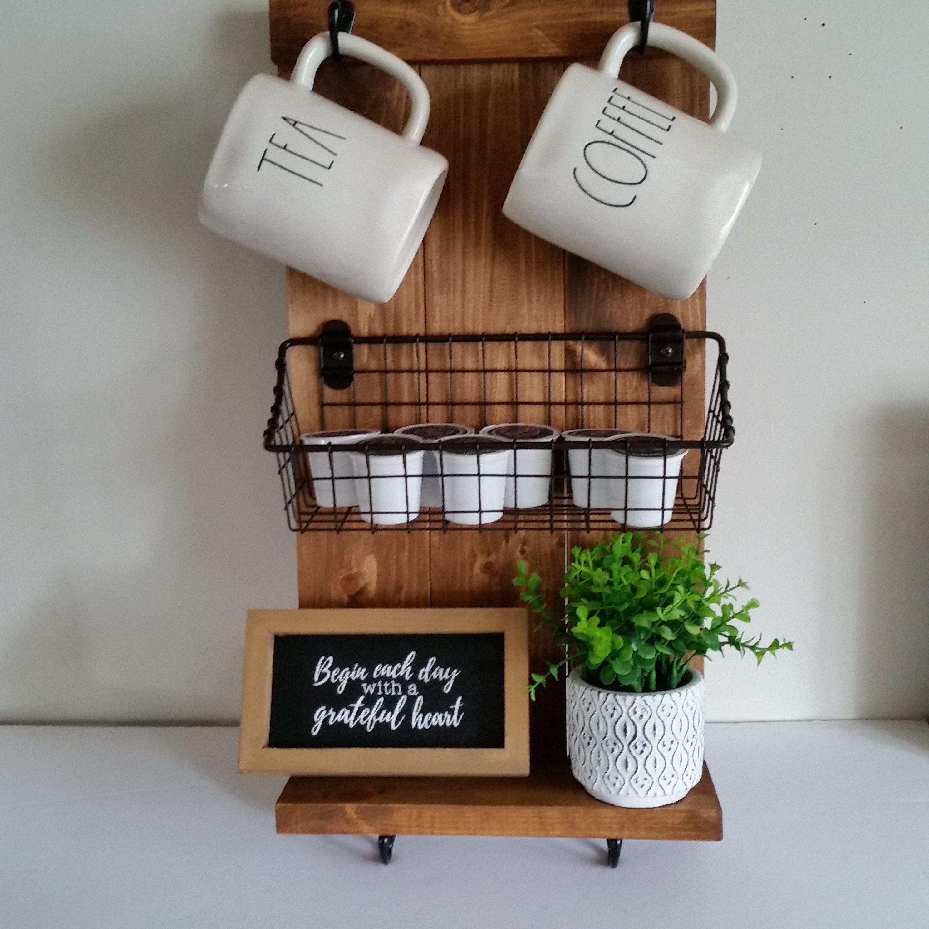 Pin on farmhouse coffee mug holder basket k cup holder