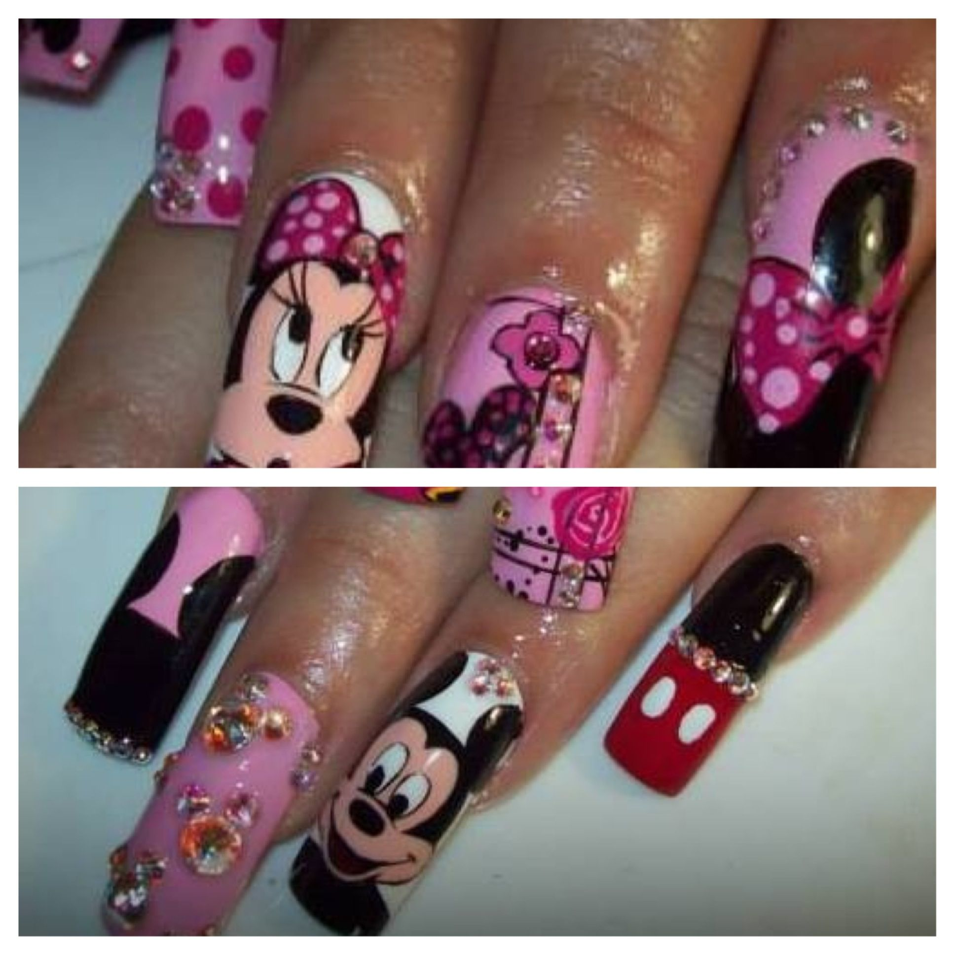 Mickey and Minnie mouse nails | Nails by me | Pinterest