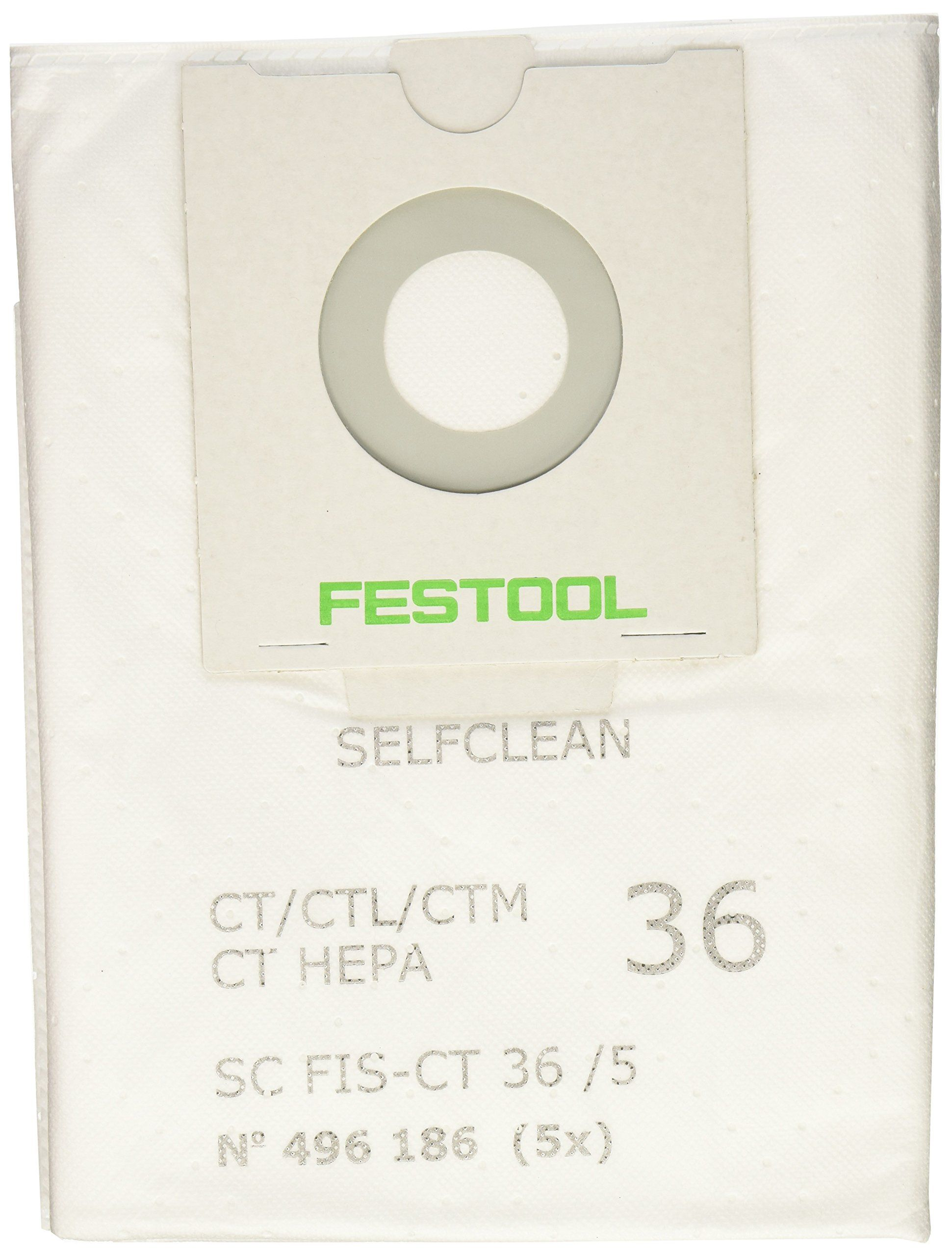 Festool 496186 SELFCLEAN Filter Bag for CT 36 Quantity 5