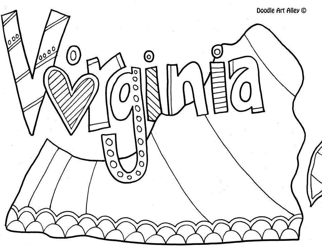 Virginia Coloring Page By Doodle Art Alley Coloring Pages