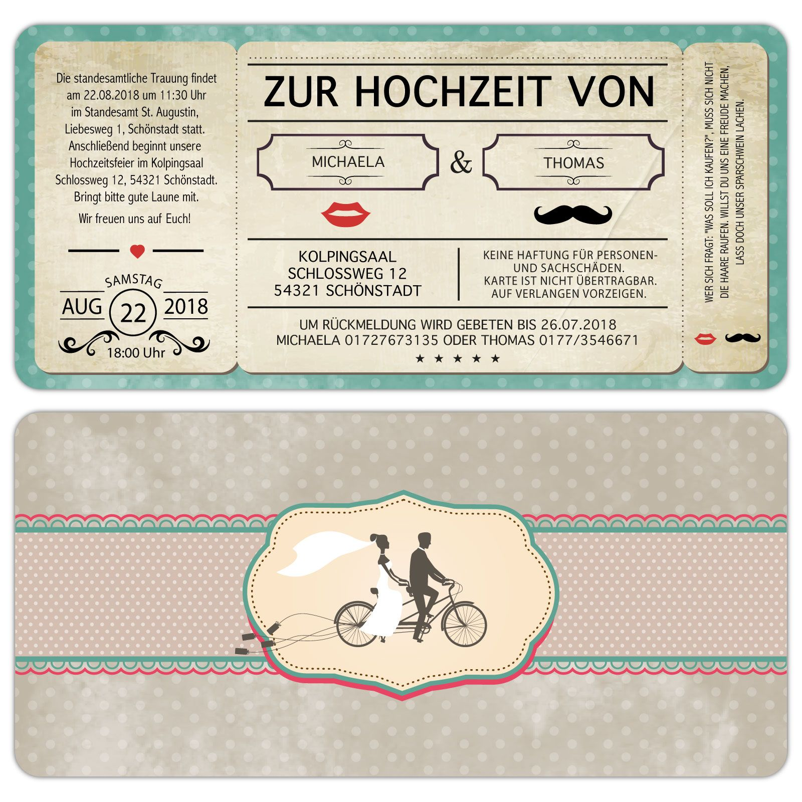 Einladungskarten Zur Hochzeit Im Retro Stil Mit Abriss    Kartenparadies Koeln.de