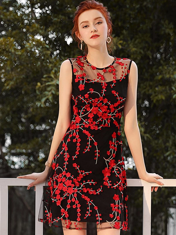 Minority Mesh High Waist Embroidery Floral Pattern A-Line ...