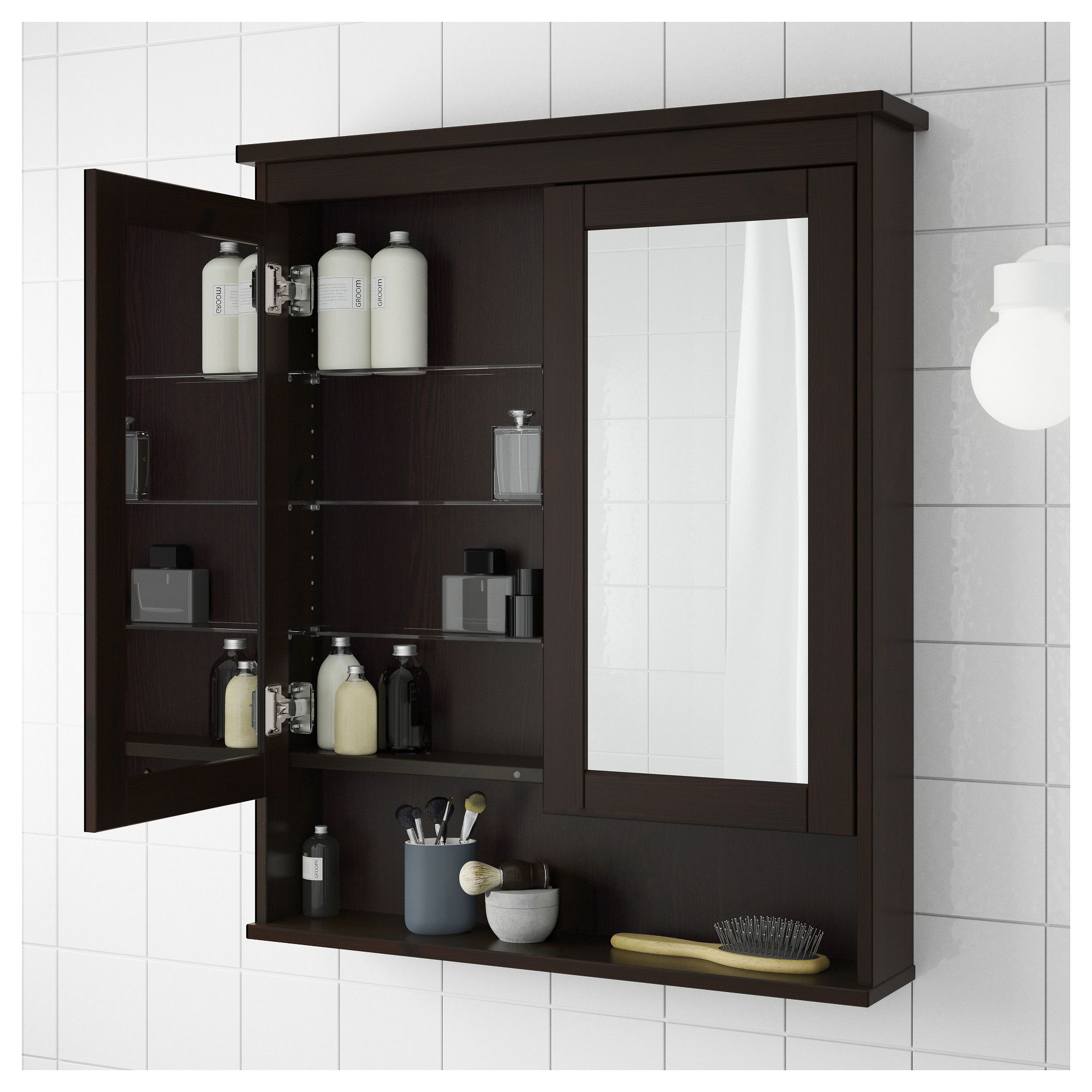 ikea bathroom cabinets with wall mirror | IKEA - HEMNES Mirror cabinet with 2 doors black-brown ...