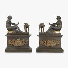Pair of Louis Philippe gilt and patinated bronze chenets, circa 1840