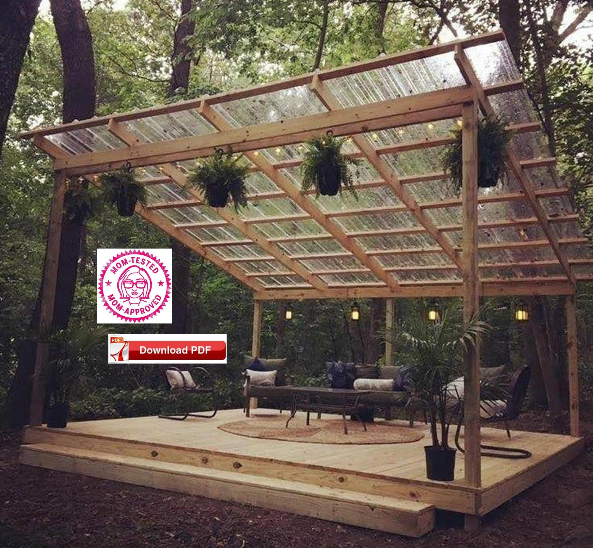 Covered Deck Plan Covered Patio Plan Covered Shelter Etsy Patio Plans Pavilion Plans Wood Deck Plans