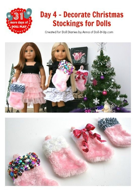 4 easy ways to decorate christmas stockings for american girl dolls or girls - Christmas Decorations For American Girl Dolls