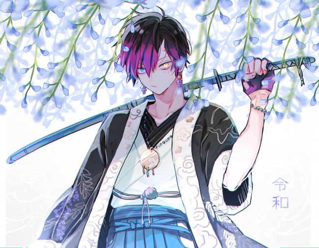 Wallpaper Anime Boy Katana Shoujo Flowers Wallpapermaiden In 2021 Anime Boy Anime Anime Kimono