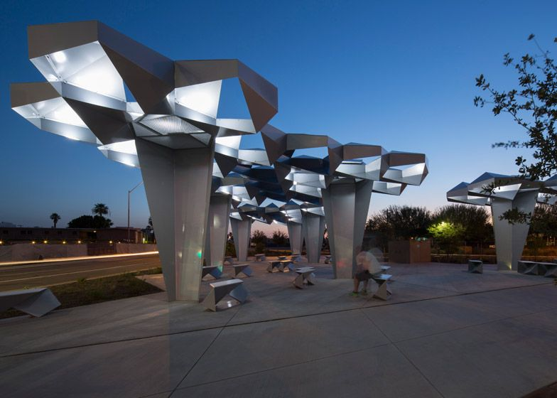 H weler yoon creates folded metal canopy for phoenix for Arquitectura parametrica pdf