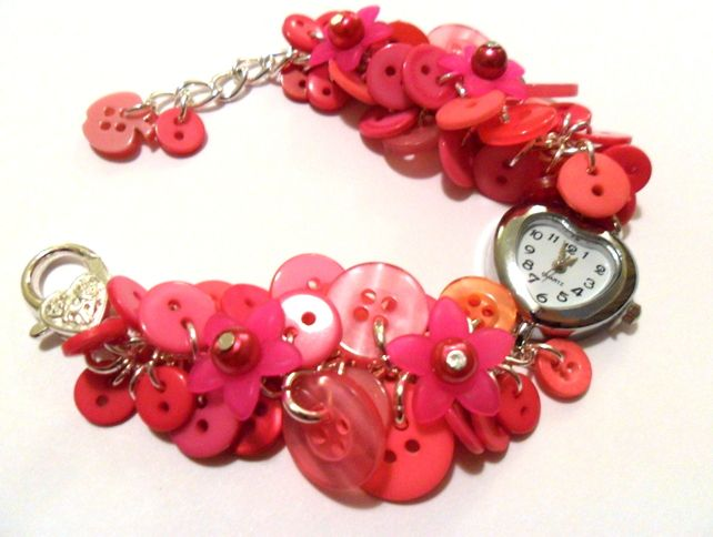 Hot Pink Button Watch