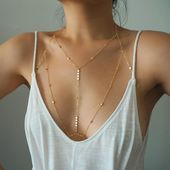 Photo of 14k GOLD Filled Tiny Coins T-Row Dainty Chain Bralette Halter Top Body Chain/ Da…