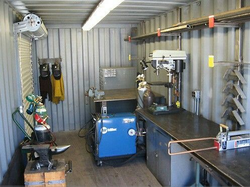 Awesome setup inside shipping container for my welding shipping container art studio pinterest - Shipping container end welding ...