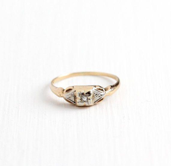 Sale Vintage 10k Rosy Yellow & White Gold Rose Cut Diamond Ring