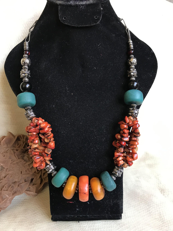 Collier Marocain Ambre Perles Corail Et Amazonite Afrique Ethnique Collier Collier Perle Bijoux Berberes