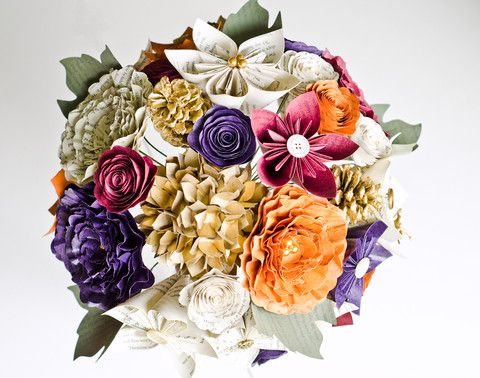 Bridal bouquet with kusudama flowers, hydrangeas, peonies and more and made with Harry Potter book pages.  Custom wedding flowers available at www.AnthologyOnMain.com