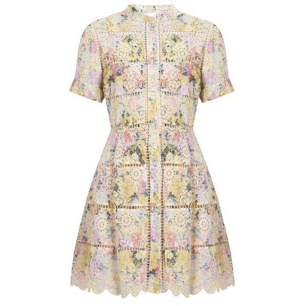 Zimmermann Valour hydrangea-print cotton dress ($587) ❤ liked on Polyvore featuring dresses, pink multi, striped dresses, pink striped dress, scalloped dress, scalloped stripes dress and vintage dresses