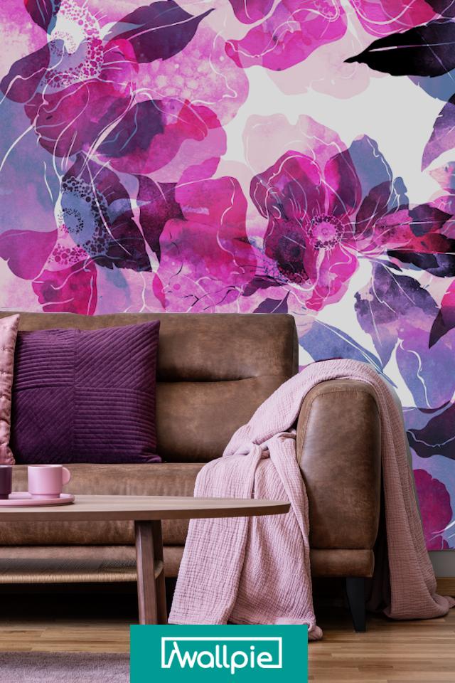 Fioletowe Kwiaty Na Scianie Jestesmy Na Tak Ale Pod Pewnymi Warunkami Pamietaj Ze Fioletowy Kolor W Pokoju Sprawdzi Sie Gdy Masz Painting Design Art