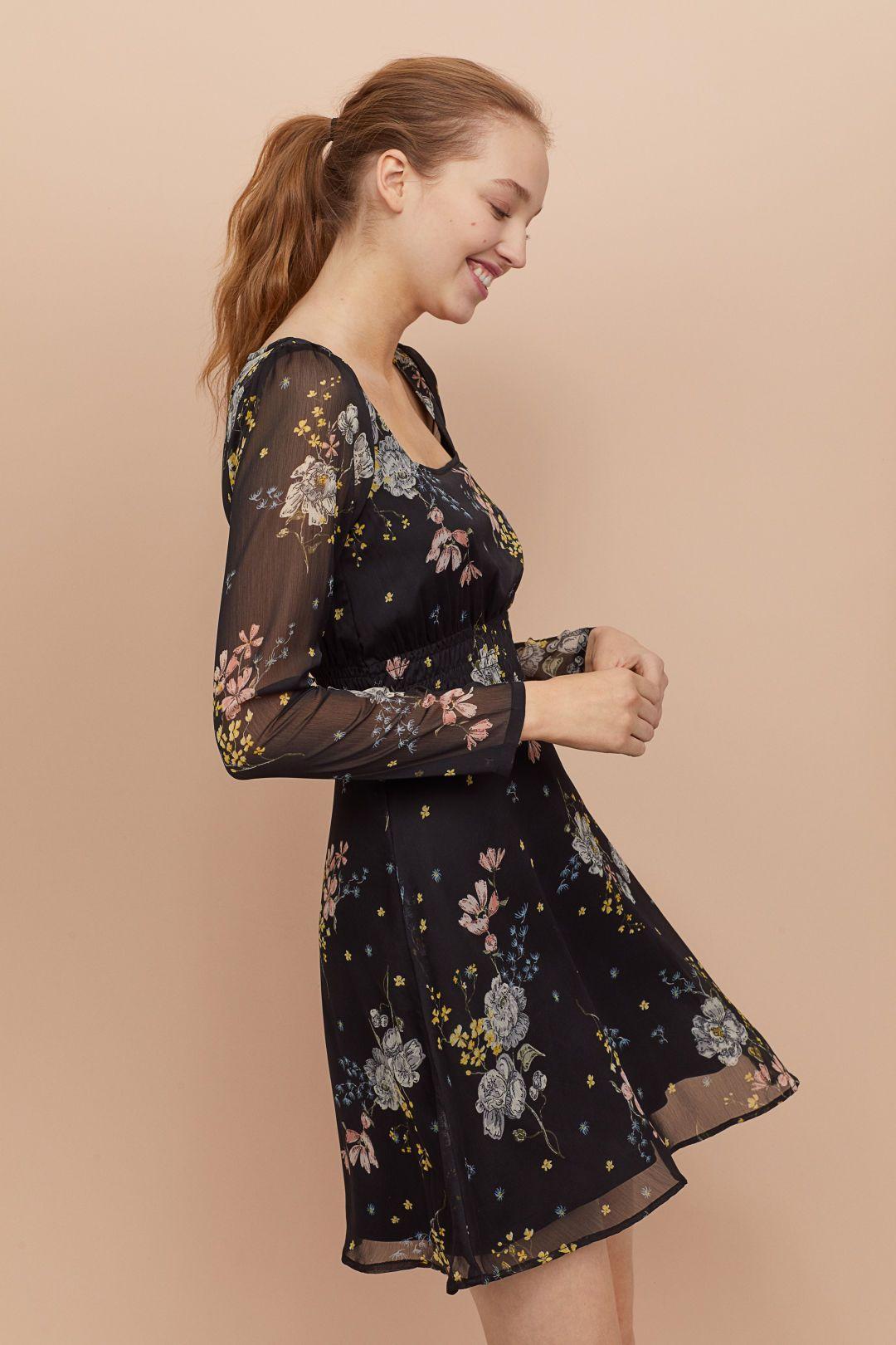 Mönstrad klänning - Svart Blommig - DAM  db467c7ffe384