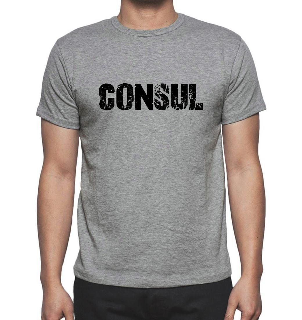 CONSUL, Grey, Men's Short Sleeve Rounded Neck T-shirt