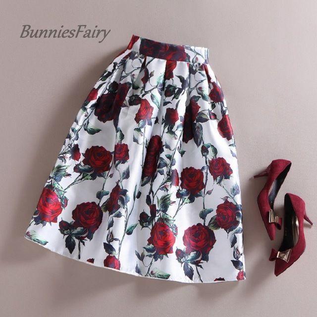 Bunniesfairy 50 S Vintage Retro De La Mujer Rosa Roja Ramo De Flores Floral Moda Faldas Falda De Tablones Faldas