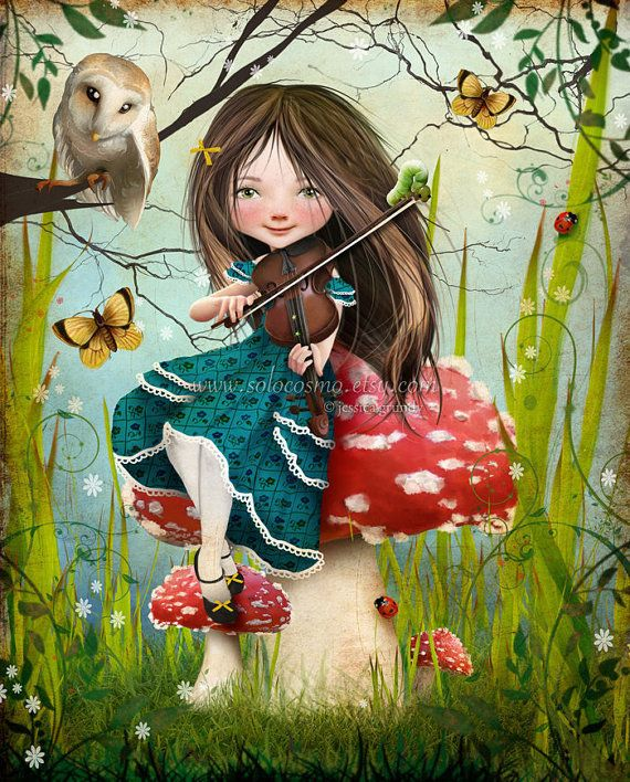 "Fantasy Fairy Tale Girl Playing Violin with Owl ""Uma"" - Shwana Erback"